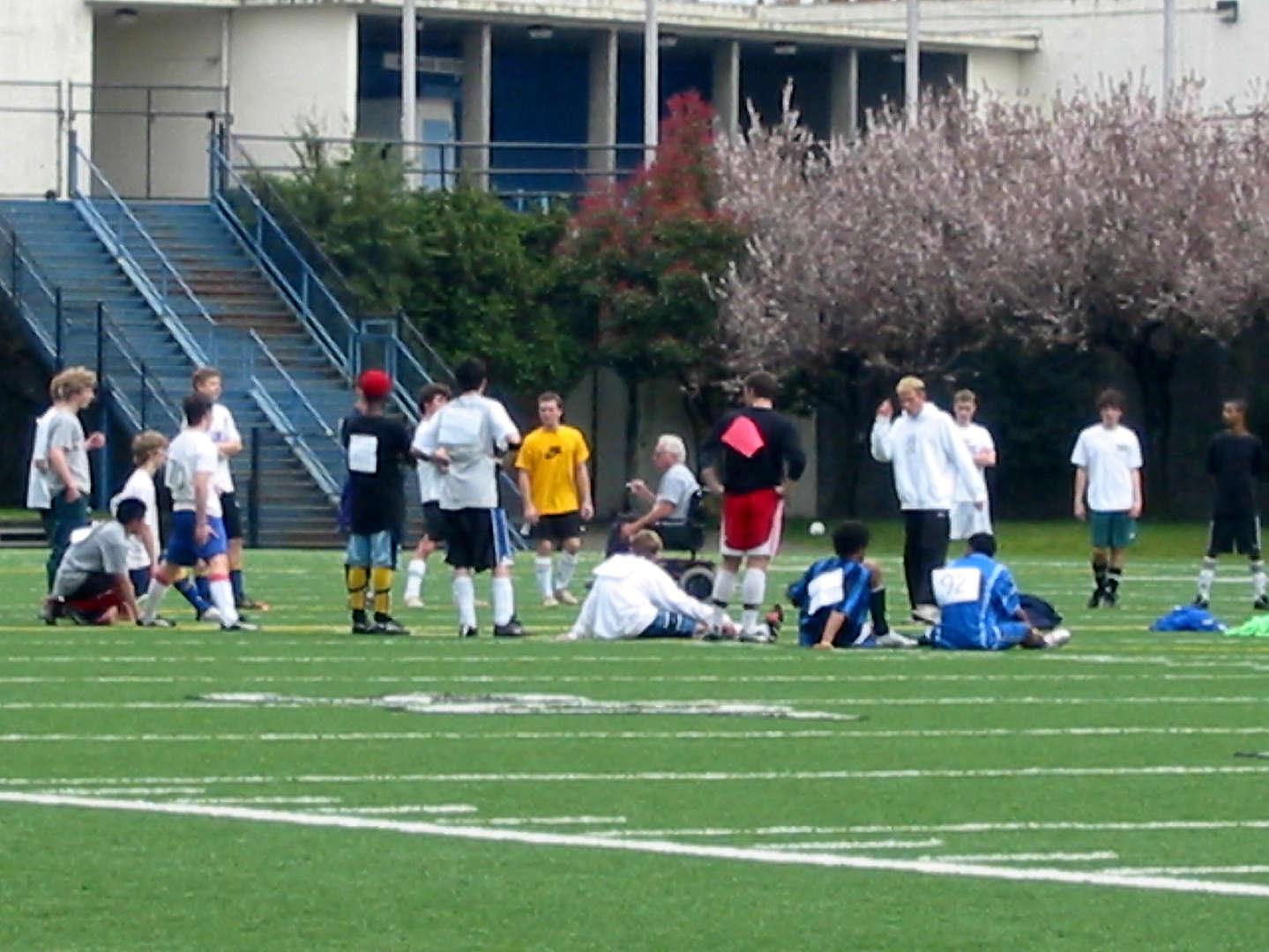 Varsity Boys team members gather before practice.